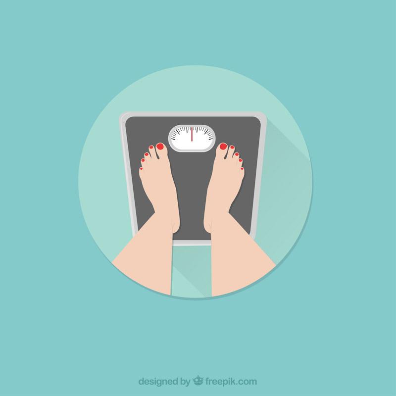 体重計に乗っている様子のイラスト