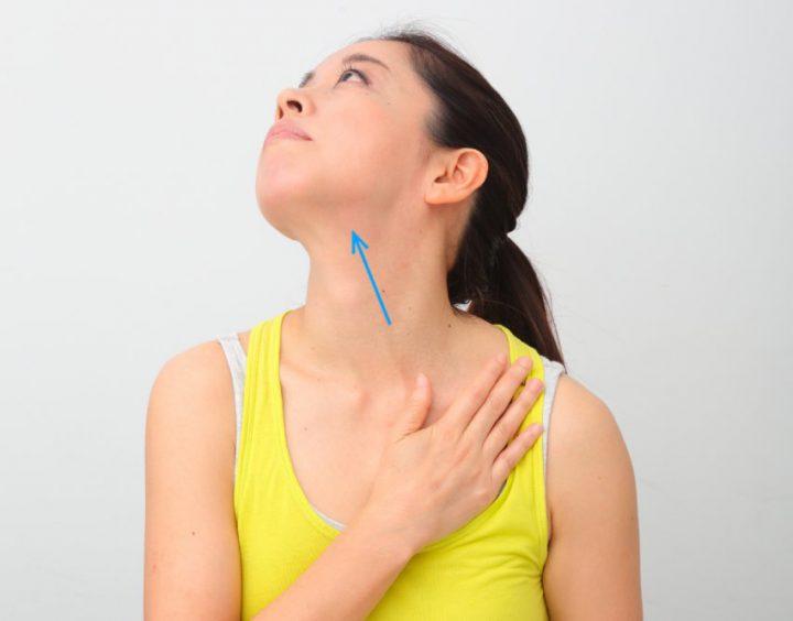 左鎖骨に手をあて、右上に首を伸ばす女性
