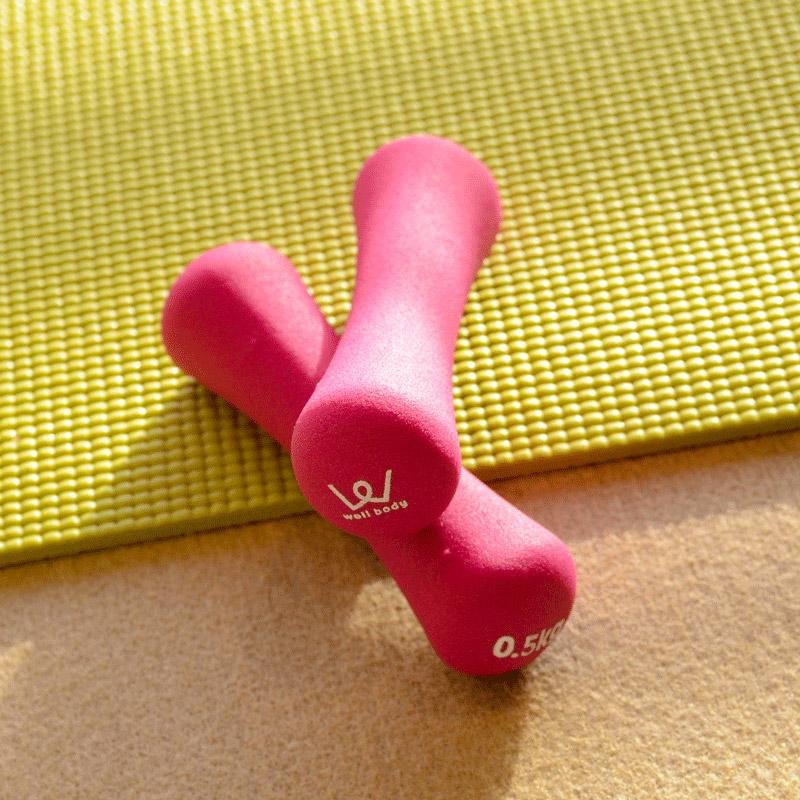 「カーディオ(有酸素運動)・セクション」で使うおもりは、1個0.5kgの重さ