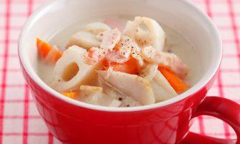 【旬菜】れんこんなどが野菜いっぱいの「ごろごろ根菜の豆乳シチュー」