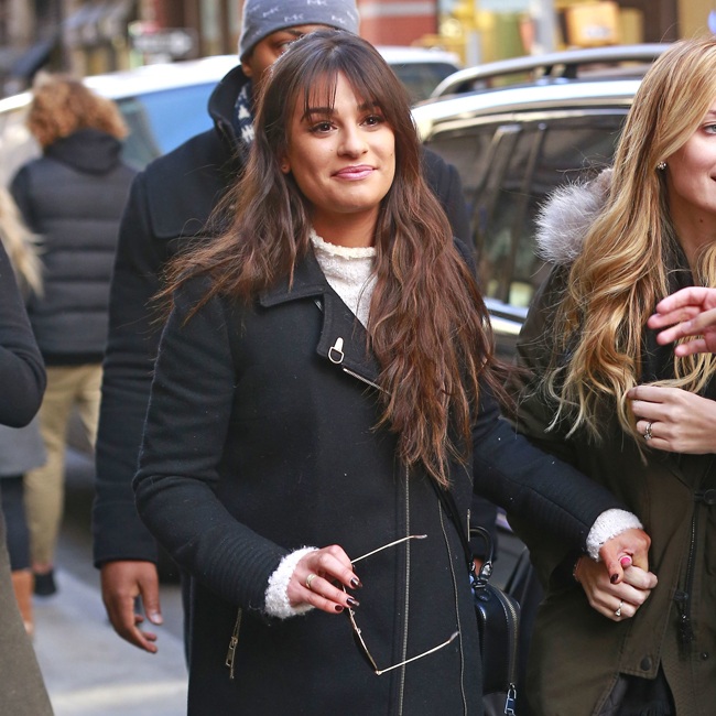 160260, Lea Michele wears a black wool coat while exiting the Aerie pop-up shop in SOHO in New York City. New York, NY - Thursday December 15, 2016. Photograph: © , PacificCoastNews. Los Angeles Office (PCN): +1 310.822.0419 UK Office (Photoshot): +44 (0) 20 7421 6000