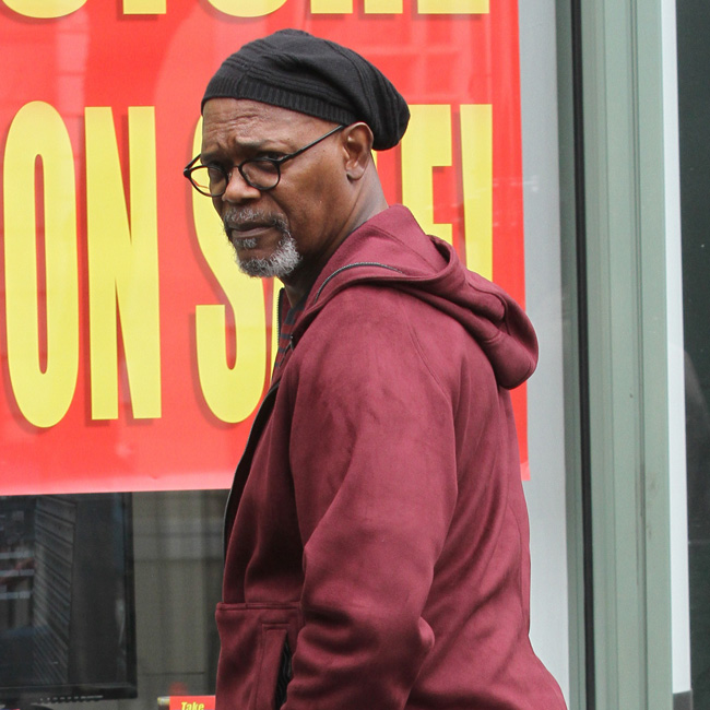 163414, Samuel L. Jackson, dressed all in burgundy, enjoys a quick vape between takes as he films Life Itself in Manhattan's West Village. New York City, NY - Tuesday March 28, 2017. Photograph: © LGjr-RG, PacificCoastNews. Los Angeles Office (PCN): +1 310.822.0419 UK Office (Avalon): +44 (0) 20 7421 6000