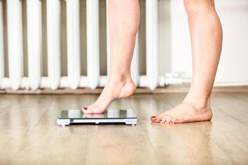 片足を体重計に乗せた女性の足元