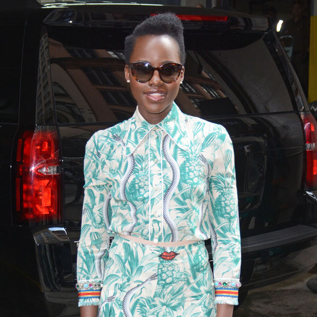 Lupita Nyong'o enters the AOL BUILD studios in New York City