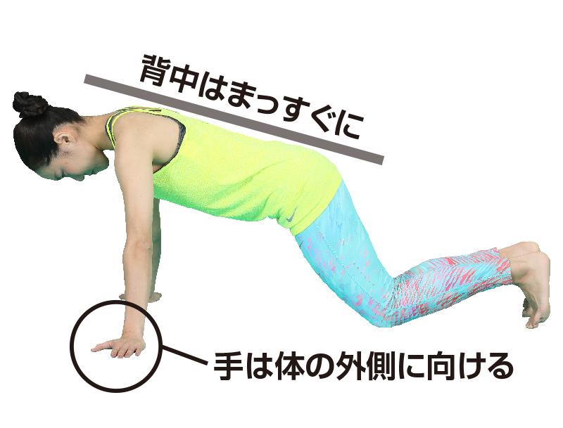 四つん這いになり、肩幅より手のひら1つ分、外側に手を置き、指先は前に向けるている女性