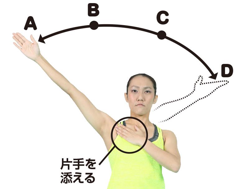 胸を反らし、右手を斜め45度に上げる女性
