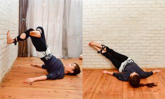 寝たままできて簡単!くびれと美脚を作る【壁トレ】2選