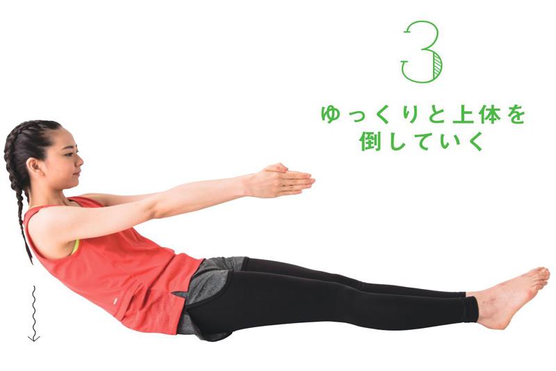 床に座って、両手と両膝が平行になるように伸ばし、ゆっくりと状態を倒す女性