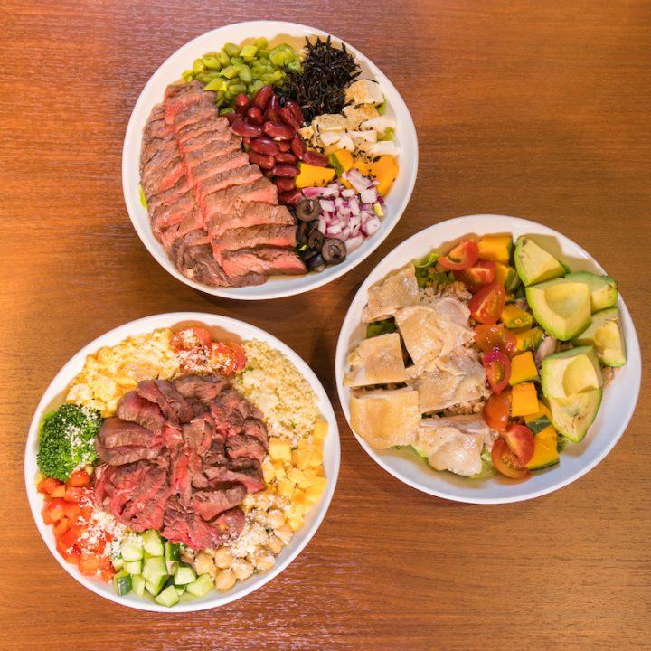 「Meat & Salad UNO」のサラダ3種