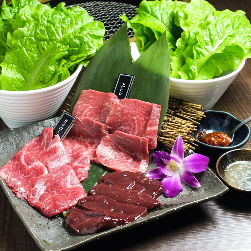 焼肉店「勇里庵~YURIAN~」の肉の力で健康促進コースのお肉とサンチェ