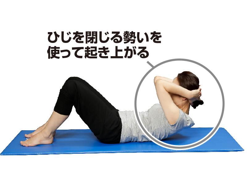仰向けになってひじを閉じながら腹筋をしている女性
