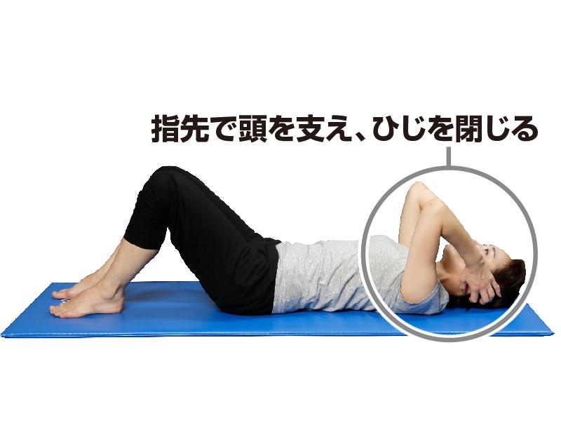 仰向けになりながら、両指先で頭を支えている