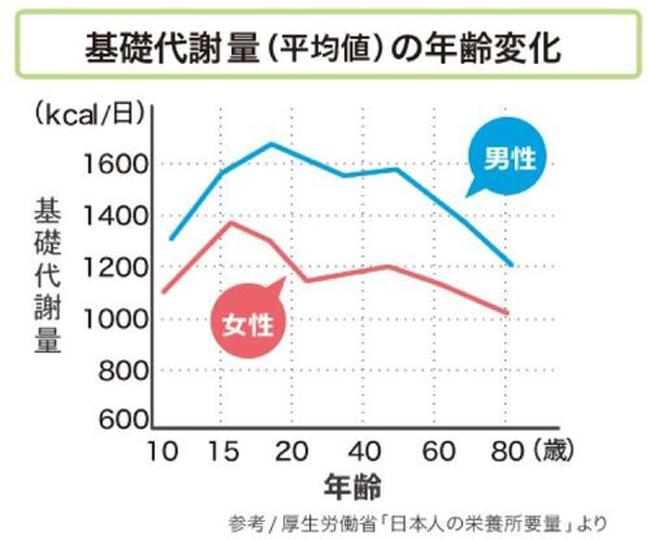 年齢による基礎代謝量の変化をしるしたグラフ