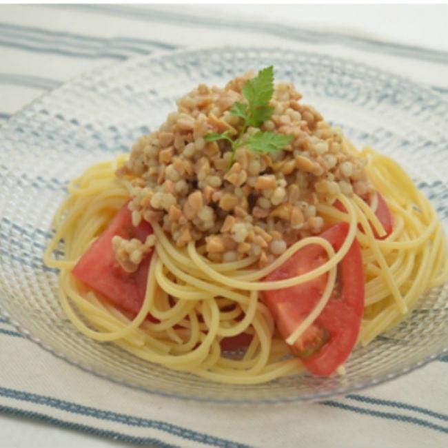 納豆トマトの冷製パスタ