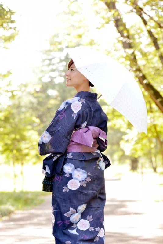浴衣を着て日傘をさす女性の後ろ姿