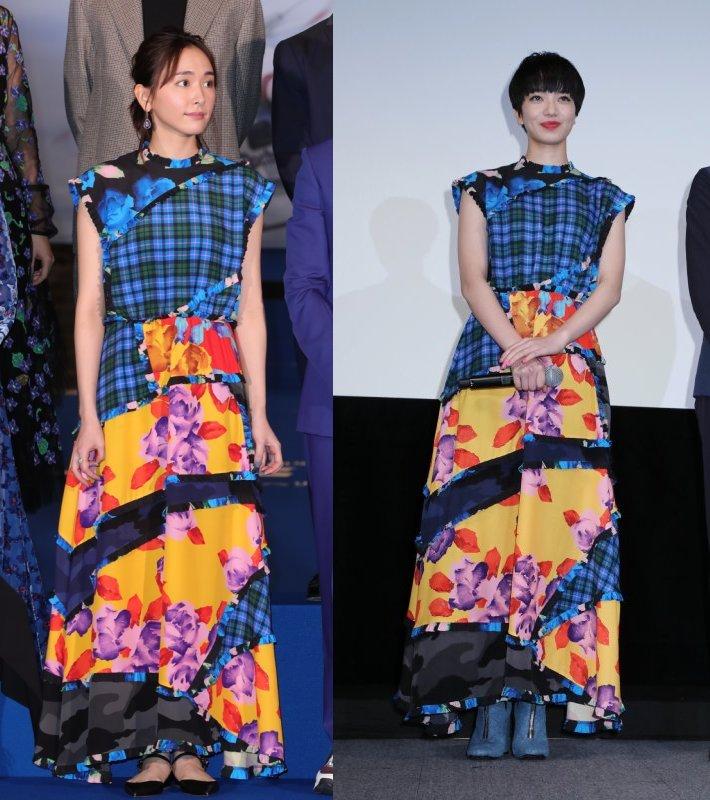 イタリアのMSGMのパッチワーク柄ワンピを着た新垣結衣と小松菜奈