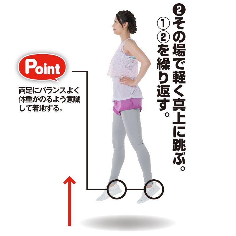 腰に手を当て、真上にジャンプするトレーニング着の女性