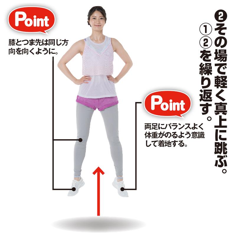 腰に手を当てたままジャンプするトレーニング着の女性