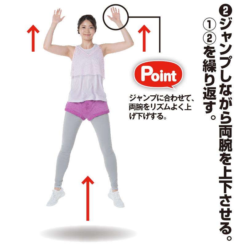 ジャンプしながら両腕を上下させるトレーニング着の女性