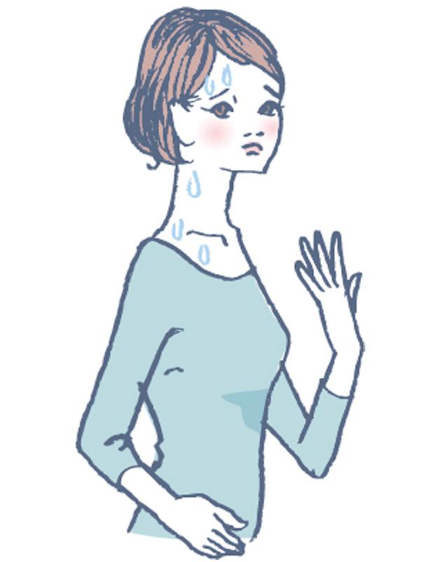 汗をかいた女性のイラスト