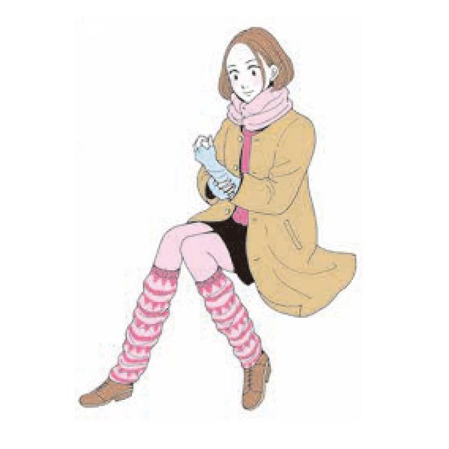 ネックウォーマー、レッグウォーマーなどをつけた女性のイラスト