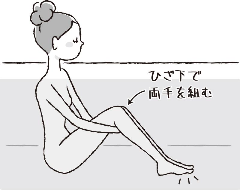 入浴中の女性が、ひざ下で両手を組むイラスト