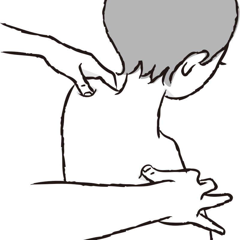 肩井(けんせい)のツボ押しするイラスト