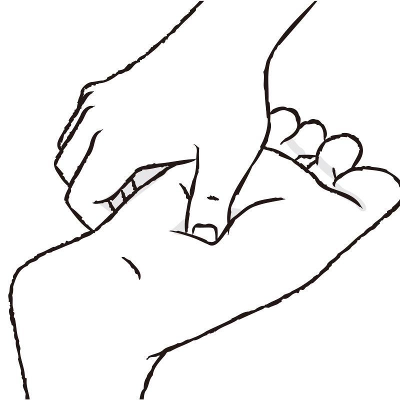 「湧泉(ゆうせん)」のツボ押しするイラスト