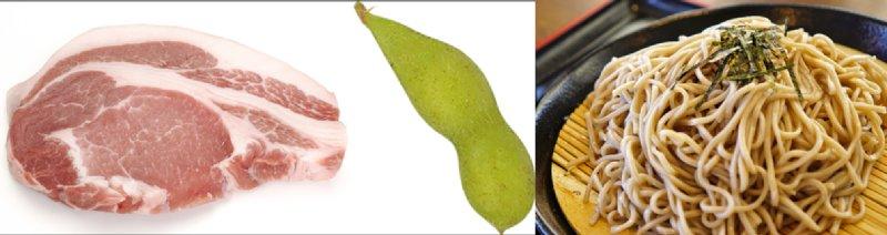 豚肉・枝豆・蕎麦