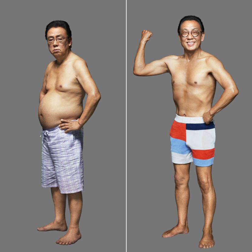 ライザップ前とライザップ後の梅沢富美男