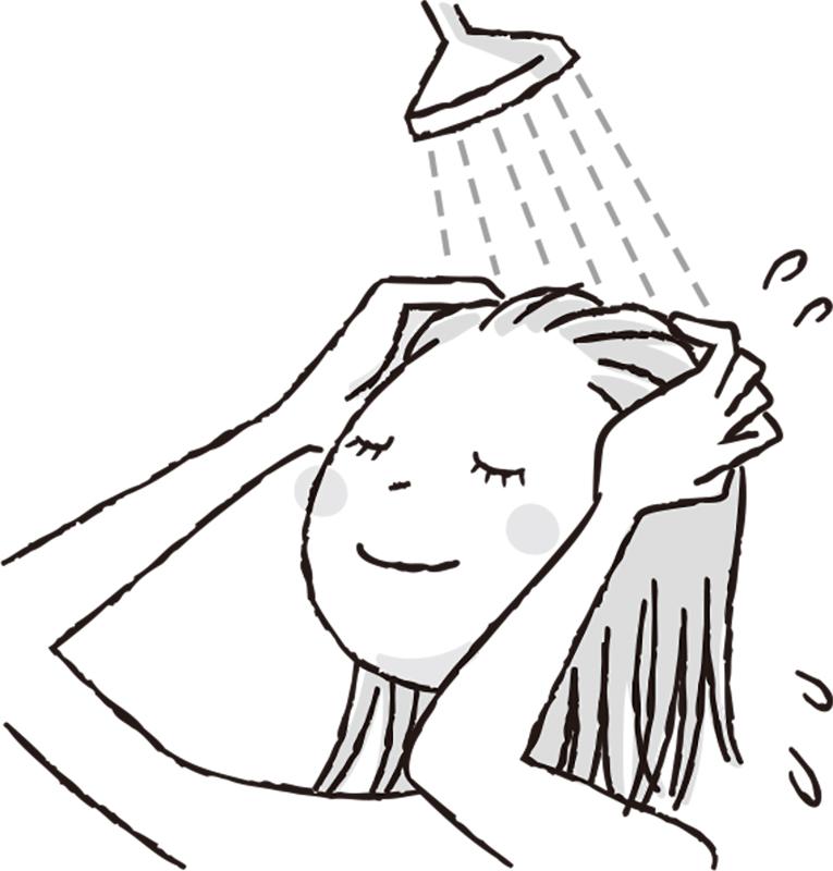 髪を予洗いする女性イラスト