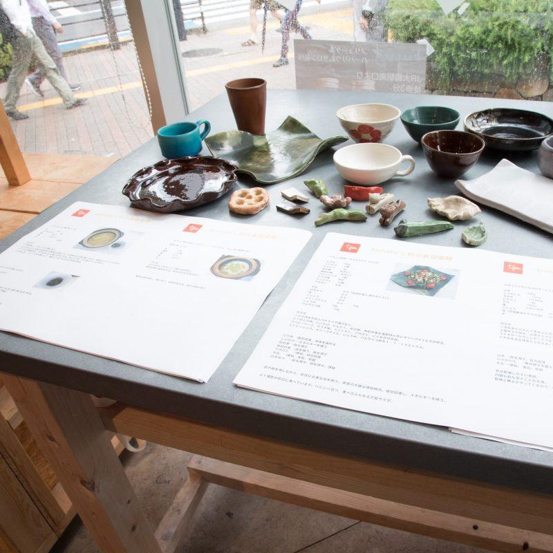 熊澤枝里子さんと酒井千佳さんよる薬膳のワークショップで使った容器とレシピ