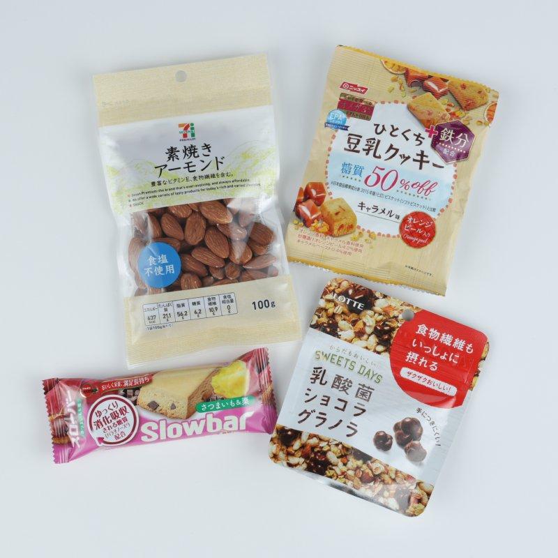 『EPA+(エパプラス)ひとくち豆乳クッキーチョコチップ入り』、『素焼きアーモンド』、『スローバー さつまいも&栗』、『乳酸菌ショコラ グラノラ モバイルパウチ』の4商品が置かれている