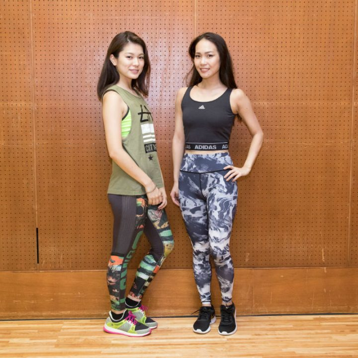 カラフルコーデとモノトーンコーデのトレーニングウエアの女子2人