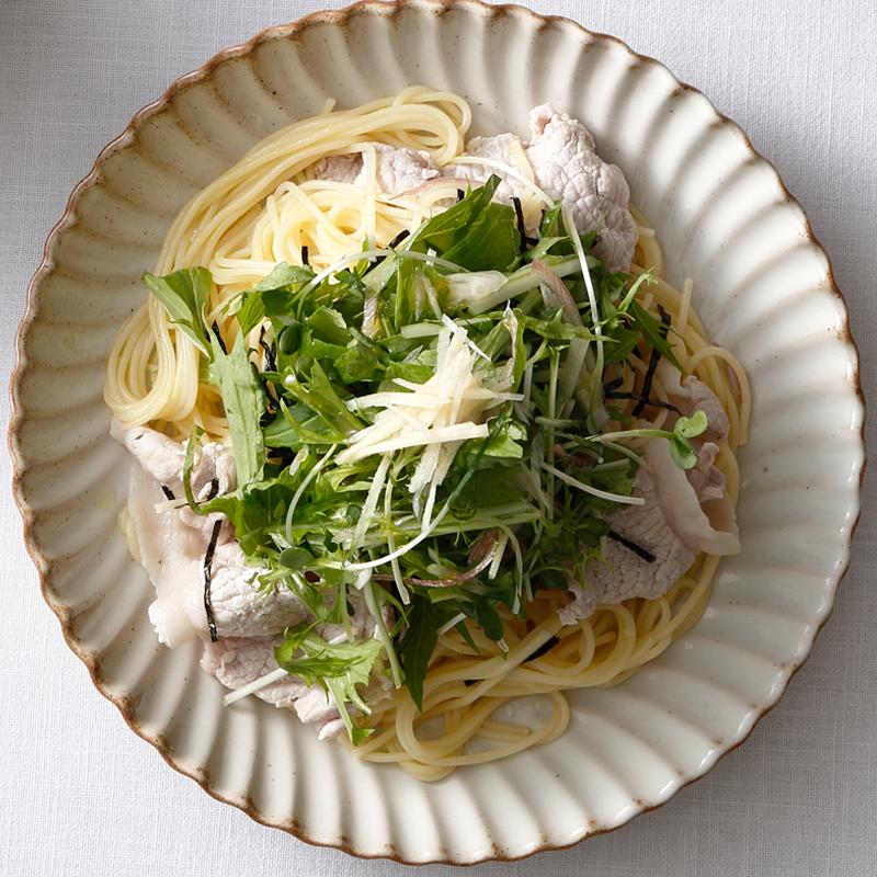 豚しゃぶと香味野菜のスパゲッティ