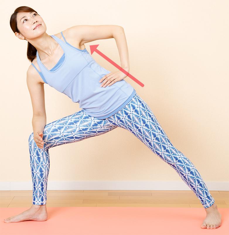 右脚を横に大きく開きつま先を右に向け、右ひざを曲げ右ひじを右太ももの上に置き体側を伸ばす