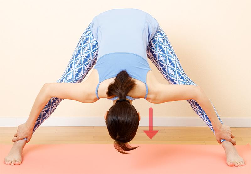 両手で両足首をつかみ、頭を足首の位置まで下げる