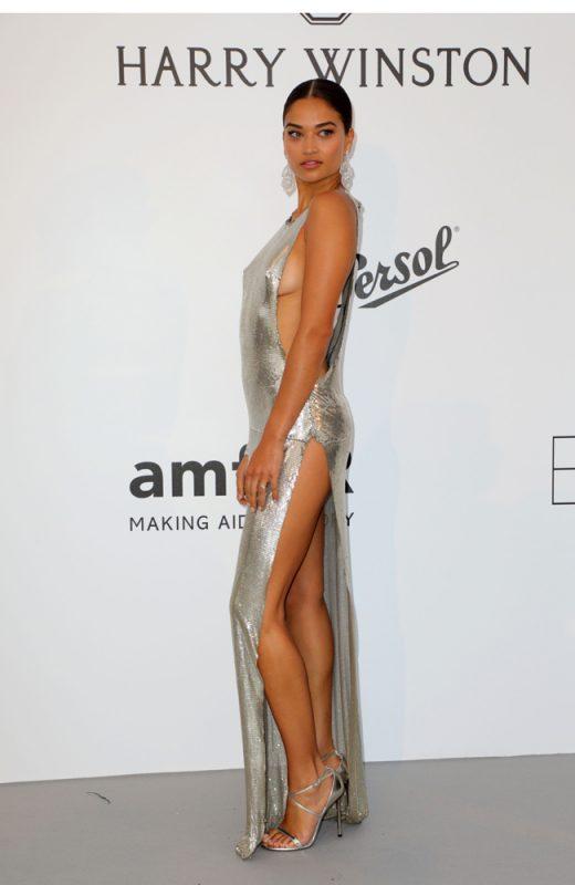 シルバーのドレスを着ているシャニーナ