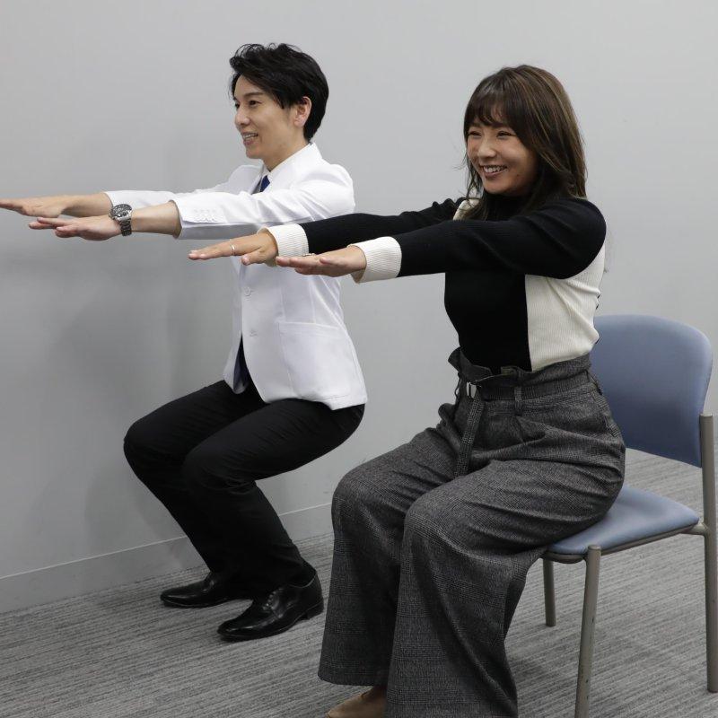 7秒かけて座るだけダイエットをやる野呂佳代と工藤孝文さん