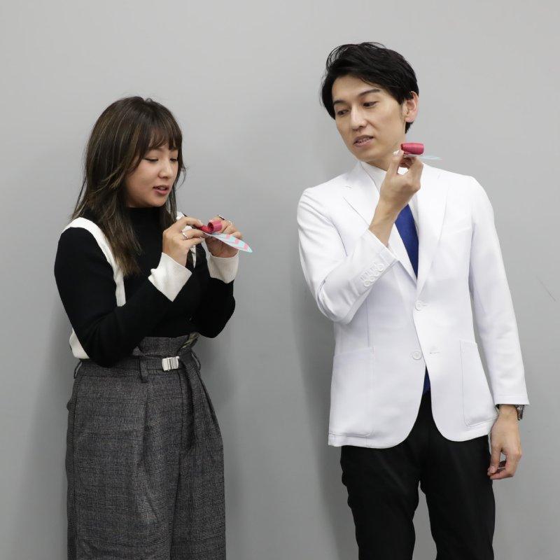 ピロピロ笛を吹く前の野呂佳代と工藤孝文さん