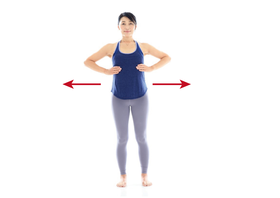 足は股関節幅。手を肋骨に当てる。吸ったとき胸郭が前後左右に広がるのをチェック