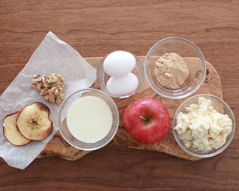 「おからとりんごのしっとりケーキ」の材料