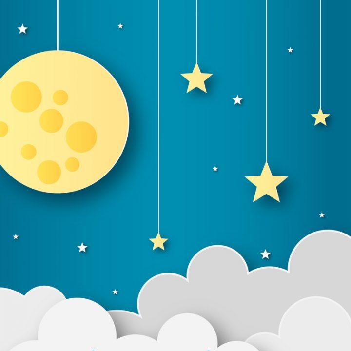 星空と月のイラスト