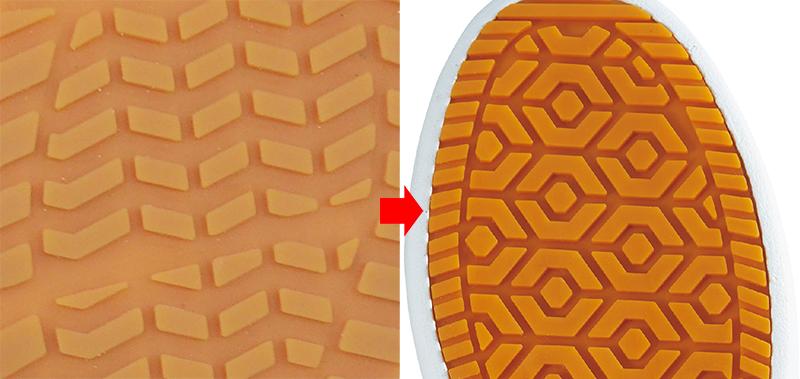 従来品の靴底と、ファイングリップシューズの靴底の写真を並べて比較