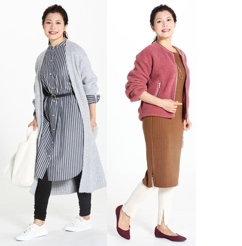 モデルの女性2人がレギンスの着こなしを披露