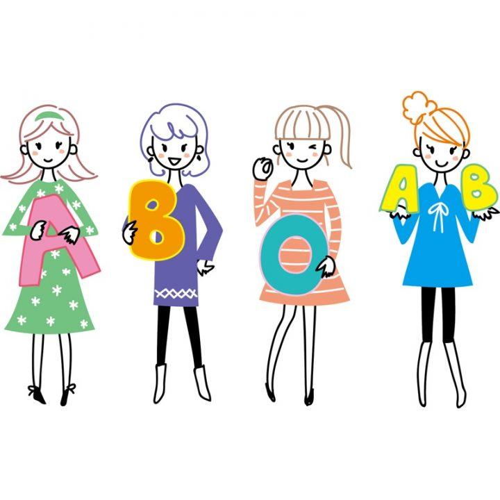 血液型のアルファベットを持った女子4人のイラスト