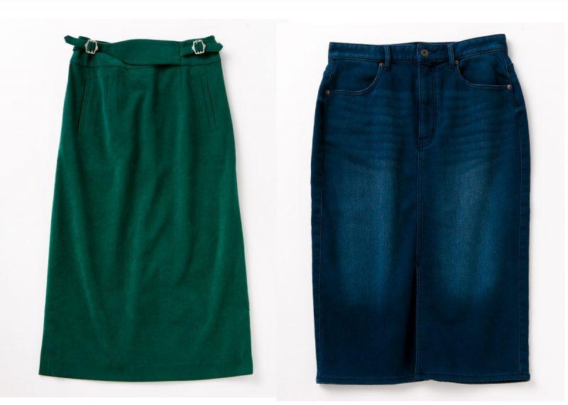 グリーンのタイトスカートとデニムのタイトスカート