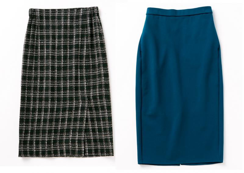 黒地に白のタイトスカート、青いタイトスカート