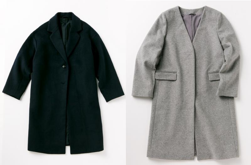 黒のチェスターコート、グレーのノーカラーコート