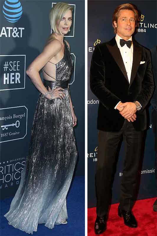 ドレス姿のシャーリーズ・セロンとタキシード姿のブラッド・ピットの2枚の写真